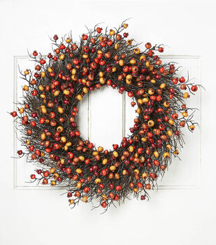 Blooming Autumn Large Berry Wreath-Red