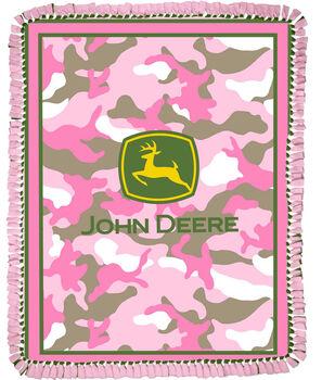 "John Deere Pink Camo 48"" No Sew Throw"
