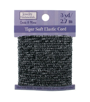 Jewelry Fundamentals Cords & More Tiger Soft Elastic Cord - Gray/Black