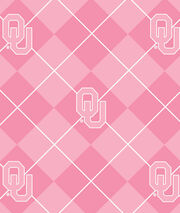 University of Oklahoma NCAA Pink Argyle Fleece Fabric, , hi-res