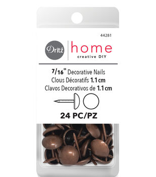Dec Tacks Rnd Hd Copper 24 Ct