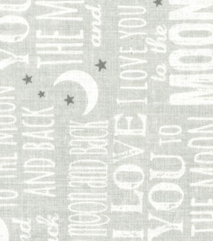 Nursery Fabric - To The Moon And Back Grey