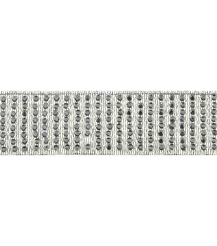 8 Row Rhinestone Silver 1 Yd Apparel Trim