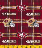 San Francisco 49ers NFL Plaid Flannel Fabric by Fabric Traditions, , hi-res