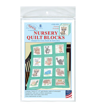 Jack Dempsey Stamped White Nursery Quilt Blocks-Forest Friends