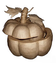 Fab Lab™ Paper Mache Pumpkin Box with Leaves, , hi-res