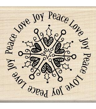 Inkadinkado® Mounted Rubber Stamp-Peace Love Joy