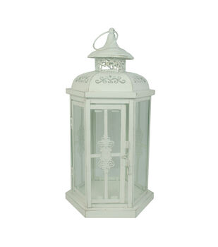 Hudson 43™ Candle & Light Collection Distressed Metal Lantern White Md