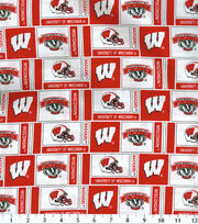 University of Wisconsin NCAA Herringbone Cotton Fabric, , hi-res