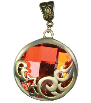 Jewelry Basics Pendant Sets-Round Red & Gold 1/Pk
