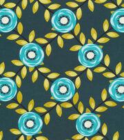 Cloud 9 Organic Cotton Fabric-Roses Blue, , hi-res