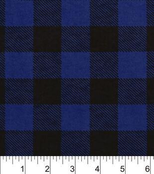 Snuggle Flannel Fabric-Blue Buffalo Check