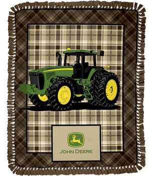 "John Deere Brown Plaid 48"" No Sew Throw"