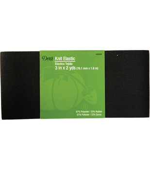 "Dritz Knit Elastic Black 3"" x 2 Yds"