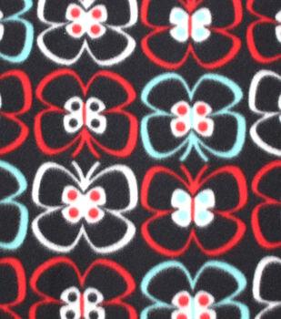 Blizzard Fleece Fabric Butterflies On Black