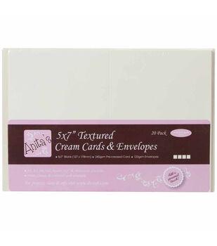 """Anita's Textured Cards/Envelopes 5""""X7"""" 20/Pkg-Cream"""
