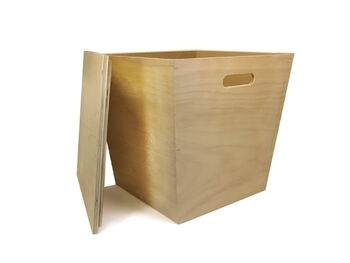 Large Wood Storage Bin With Lid