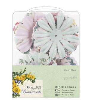 "Papermania Botanicals Big Bloomers Paper Flowers 3"" 32/Pkg-"