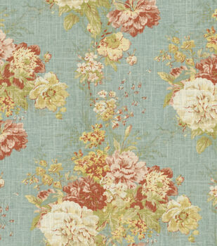 Waverly Upholstery Fabric-Ballad Bouquet Robin'S Egg