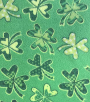 St. Pat's Print Fabric-Shamrock Party 2 Green Fleece