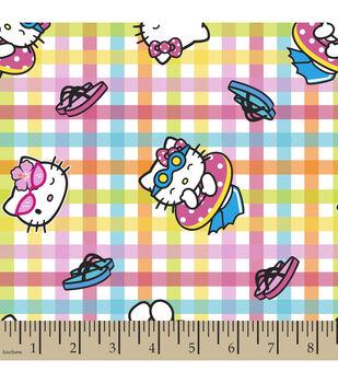 Sanrio Hello Kitty Plaid Cotton Fabric