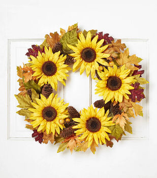 Blooming Autumn Sunflower Berry Pinecone Twig Wreath-Yellow