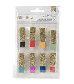 American Crafts™ 8pcs Whittles Clothespins-Glitter Fashion Colors
