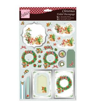 Anita's A4 Foiled Decoupage Sheet-Christmas Animals