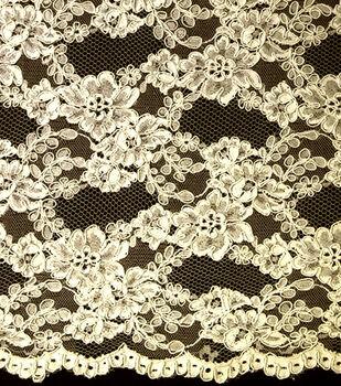Designer Vault Bridal Fabric - Illusion Corded Lace Ivory