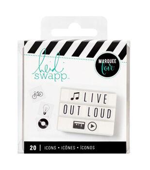 Heidi Swapp Lightbox Inserts 20/Pkg-Black Icons