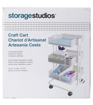 Storage Studios Rolling Craft Cart With Three Bins