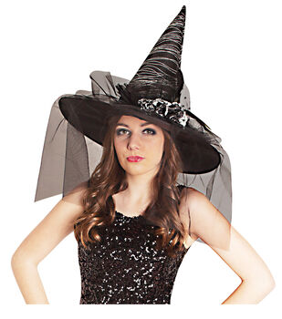 Maker's Halloween Witch Hat-Black With Silver Stripes