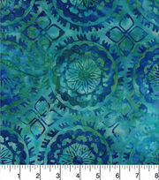 Batik Cotton Fabric - Medallion Blue Green, , hi-res