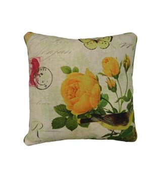 In The Garden 18''x18'' Polylinen Pillow-Bird And Yellow Flower