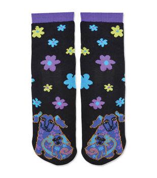 Laurel Burch Slipper Socks-Dog & Doggie