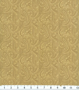 Wide Cotton Fabric-108' Paisley Beige