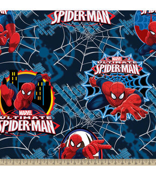 Marvel Comics Ultimate Spiderman Badge Fleece Fabric