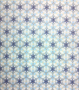 Holiday Inspirations Fabric-Hanukkah Tiny Star Of David Metallic