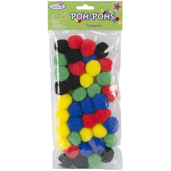 Multicraft Imports Pom-Poms Assorted Primary
