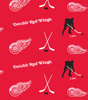 Detroit Red Wings NHL Tossed Print Fleece Fabric, , hi-res