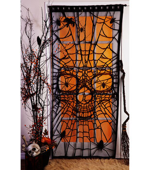 Maker's Halloween Window or Door Panel-Spiders & Skull