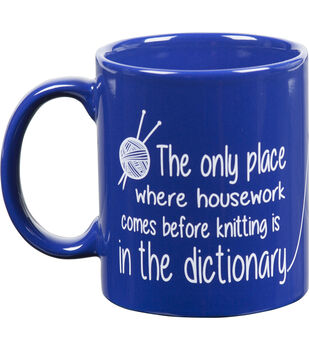 K1C2 Knit Happy Dictionary Blue Mug 11oz