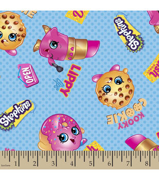 Shopkins Cotton Fabric-Friends Cartoon
