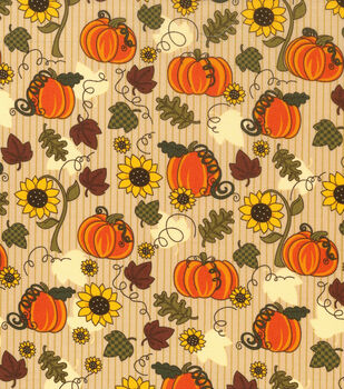 Autumn Inspirations Fabric-Pumpkins & Sunflowers Tan