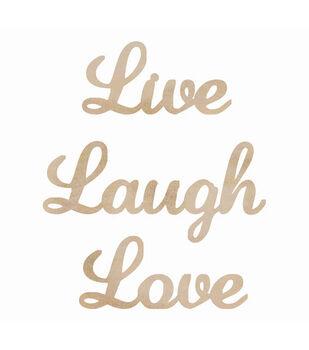 Wood Flourishes Words-Live, Laugh, Love