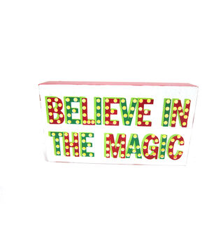 Holiday Cheer Red Green Led Sign-Believe