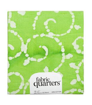 Fabric-Quarters Assorted Batik Fabric-Green
