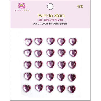 Queen & Co Twinkle Self-Adhesive Embellishments Hearts