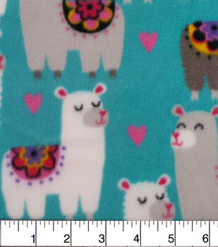 Anti-Pill Fleece Fabric-Floral Llama