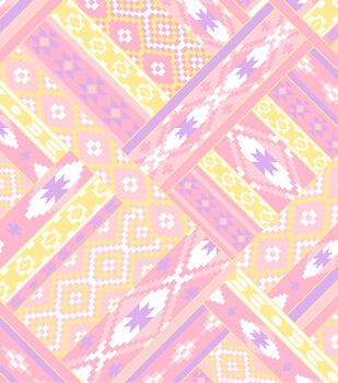 Anti-Pill Fleece Fabric - Ikat Diamond Pastel Pink & Yellow